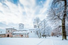 Medieval castle Budatin in winter. royalty free stock photos
