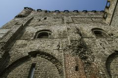 Medieval castle built entirely of stones in Belgium royalty free stock photo