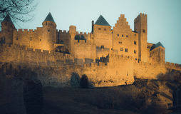 Medieval Castle at Carcassonne in sunset Stock Photos
