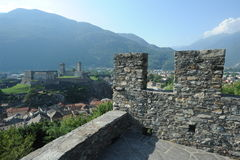The medieval castle of Castelgrande and Montebello at Bellinzona Royalty Free Stock Image