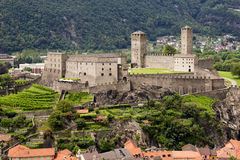 Medieval castle Castelgrande, Ticino, Switzerland. Medieval castle Castelgrande, Bellinzona, Canton Ticino, Switzerland Stock Photos