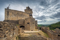 Castle of castelnaud, France. Medieval castle of castelnaud la chapelle, dordogne, perigord, France Royalty Free Stock Photo
