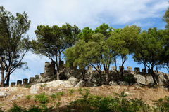 Medieval castle Castelo dos Mouros, Sesimbra, Portugal Royalty Free Stock Photos