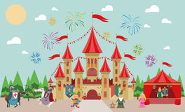 Medieval Castle with characters (king, princess, magician, knights and jester) and fireworks. Royalty Free Stock Photo