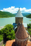 Medieval castle and church in Ananuri, Georgia Royalty Free Stock Image