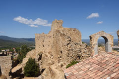 Medieval Castle and church, tenth century, Palafolls, Royalty Free Stock Photography