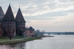 Medieval castle in the city of Malbork, Poland. An old stronghold from middle ages. Autumn season, winter stock photography
