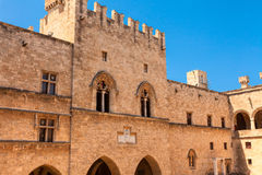 Medieval castle in the city of Rhodes Royalty Free Stock Photos