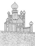 Medieval castle coloring book for adults vector Stock Photo