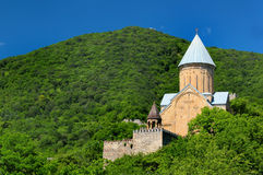 Medieval castle complex with church in Ananuri, Georgia Stock Image