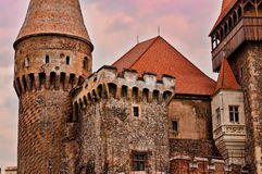 Medieval castle detail. Detail from the Corvins Castle, (XV century), located in Romania, on the Center of Hunedoara City, southwestern part of Transylvania stock image