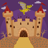 Medieval castle and dragon Royalty Free Stock Photography