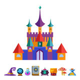 Medieval Castle and Elements for Games. Vector Royalty Free Stock Photos