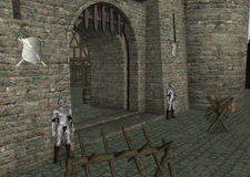 Medieval Castle Entrance With Guards Illustration. Guards and barriers in front of the castle entrance Royalty Free Stock Photos