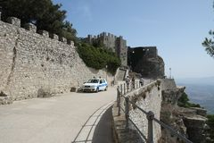 Medieval castle in Erice, Italy. Medieval castle in Erice near the sea, Italy stock image