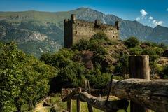 Medieval castle of fenis in aosta cityence stock photos