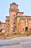 The medieval castle in Ferrara, Italy. The huge castle Castello Estense was the residence of family of Este, the Dukes of the region, Ferrara, Italy royalty free stock photos