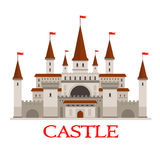 Medieval castle or fortress with red flags icon Stock Photography