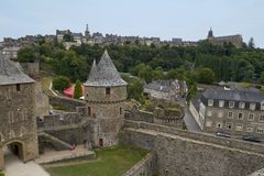 Medieval Castle of Fougeres. Gate house of Chateau de Fougeres, France Royalty Free Stock Photography