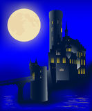 Medieval castle and full moon Stock Image