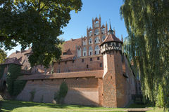 Malbork Castle in Poland. The Castle of the Teutonic Knights in Malbork (Polish: zamek w Malborku; German: Ordensburg Marienburg) was built in Prussia by the Stock Images
