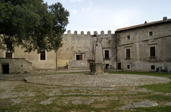 Medieval castle ground. View of garden at medieval Castle, Sermoneta, Italy stock image