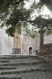 Medieval castle ground. View of garden at medieval Castle, Sermoneta, Italy stock photo