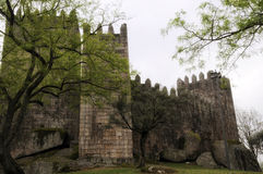Medieval castle in Guimaraes. Medieval castle of Alfonso Hendriques in Guimaraes in the north of Portugal. European Capital of Culture 2012 stock images