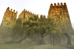 Medieval castle in Guimaraes Royalty Free Stock Image