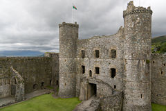 Medieval castle at Harlech, Wales Stock Images