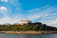 Medieval castle on the hill. Against the sky, Bratislava, Slovakia royalty free stock photos