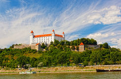 Medieval castle on the hill against the sky Stock Photography