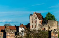 Bavarian monumens. Knight`s castle. A medieval castle on the hill. royalty free stock photo