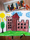 Medieval castle on the hill. Colorful drawing: medieval castle on the hill stock images