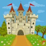 Medieval castle on hill. Vector illustration of a medieval castle on a hill royalty free illustration