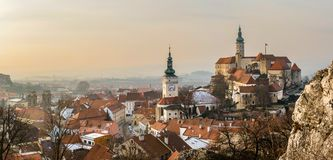 Medieval castle and historic centre of Czech town Mikulov Royalty Free Stock Images