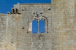 Manueline style window in the Belmonte castle, district of Guarda. Portugal. royalty free stock images