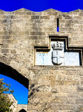 Medieval castle of the Hospitaller Knights on the island of Rhodes, Greece Stock Images
