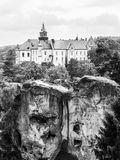 Medieval Castle Hruba Skala situated on a steep sandstone cliff in Bohemian Paradise, or Cesky Raj, Czech Republic Stock Photos