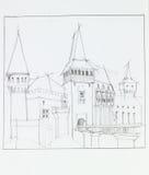 The medieval castle in Hunedoara, Romania Stock Image