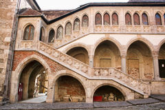 Medieval castle of Hunedoara wall Royalty Free Stock Photos