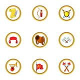 Medieval castle icon set, cartoon style Royalty Free Stock Photo