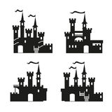 Medieval castle icon vector set. Castle tower silhouette. Knights, royal, princess castle sign, castle vector, castle wall Royalty Free Illustration