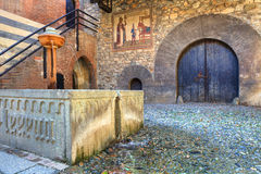 Medieval castle interior view. Stock Image