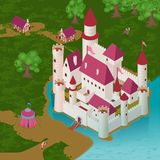 Medieval Castle Isometric Illustration stock illustration
