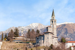 Medieval castle in Italy. Medieval castle in Italy in the foothills of the Alps Royalty Free Stock Images