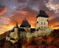 Medieval Castle Karlstejn Sunset Bohemia Stock Photos
