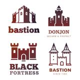 Medieval castle and knight fortress vector ancient royal logo Stock Photography