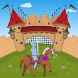 Medieval castle with a knight. Vector illustration of a medieval castle with a knight, for fairy tales or children books vector illustration