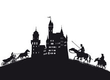 Medieval castle with knights and coach. An illustration of the silhouettes of a medieval castle with knights and a coach cart Stock Images